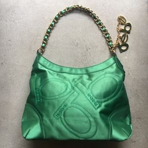 BEBE Green Satin Purse